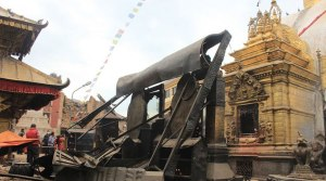 Extensive damage atop the Swayambhunath complex (Abhimanyu Chakravorty, Indian Express)