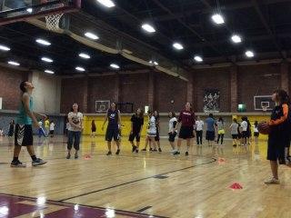 Basketball inside Sparks Center.