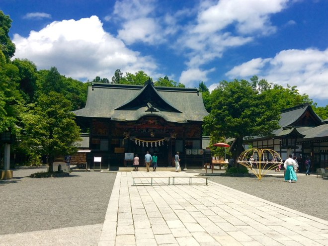 The haiden (prayer hall) of Chichibu Shrine. The shrine dates back more than 900 years and was a sacred site during the Edo period.