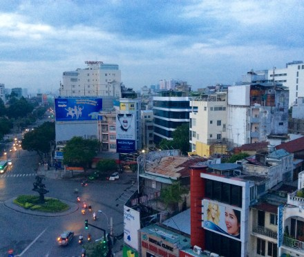 Our last morning in Ho Chi Minh City, looking out at the calm of the early morning from our hotel room in Bến Thành District.