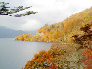 The changing colors on Lake Chuzenji
