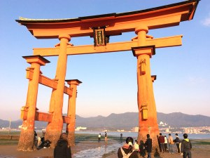 At low tide, you can walk right up to the Great Torii