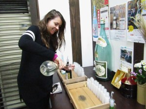 Kamotsuru lets visitors pour their own samples. Dangerous!