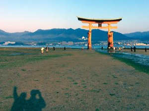 We're just a couple shadows in the shadow of the Great Torii