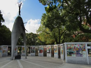 Hiroshima's Children's Peace Monument, dedicated to 12-year-old Sadako Sasaki who famously folder 1,000 paper cranes as a wish to recover from leukemia caused by the atomic bomb.