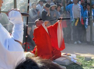A monk overseas the Firewalking Ceremony at Daigan-ji Temple