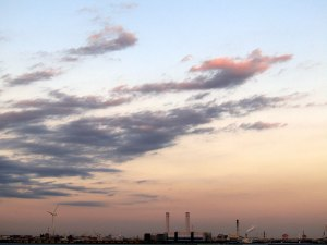 Yokohama's industrial area on Tokyo Bay at dusk