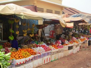 A tropical fruit paradise at Phsar Leu market in Siem Reap.