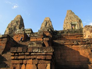 Climbing the steps of Pre Rup, one of Angkor's oldest temples.