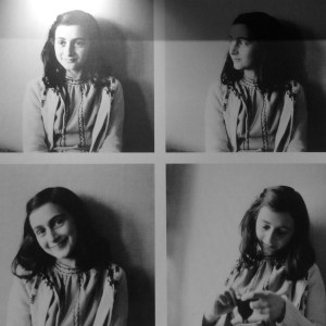 Four portraits of Anne Frank. Photos were prohibited inside the museum.