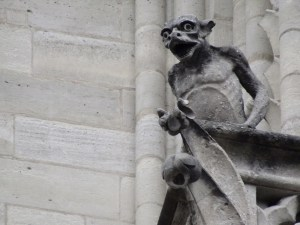 Notre-Dame's most famous gargoyle statue is perched on the south side of the front facade.