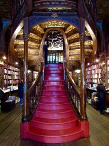 The art nouveau spiral staircase at Livraria Lello & Irmão.