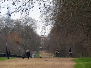 The sports fields at Kensington Garden are surrounded by a dirt trail for horse riders. I assume the horses came into the city on the tube...