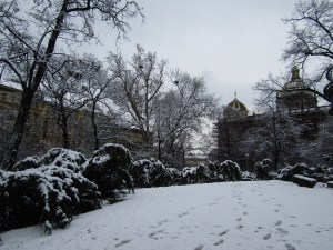 Footprints in the snow at Čelakovského Sady.