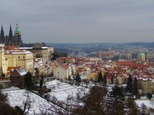 View of Prague, including Prague Castle, from Strahov Monastery.