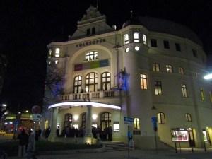 The Volksoper, a public opera house in Vienna, where we saw a production of the Italian opera La Traviata.