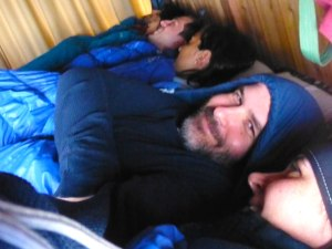 The sleeping arrangements in the mountain huts are cozy and booked solid. Be prepared to make some new friends!