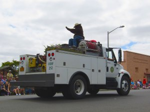 Smokey Bear catches a ride with the Oregon Department of Forestry during the 2016 Western Days Parade.