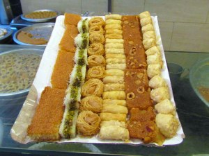 Pastries at one of the many sweet shops in Cairo