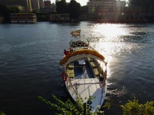 A felucca boat on the banks of the Nile River
