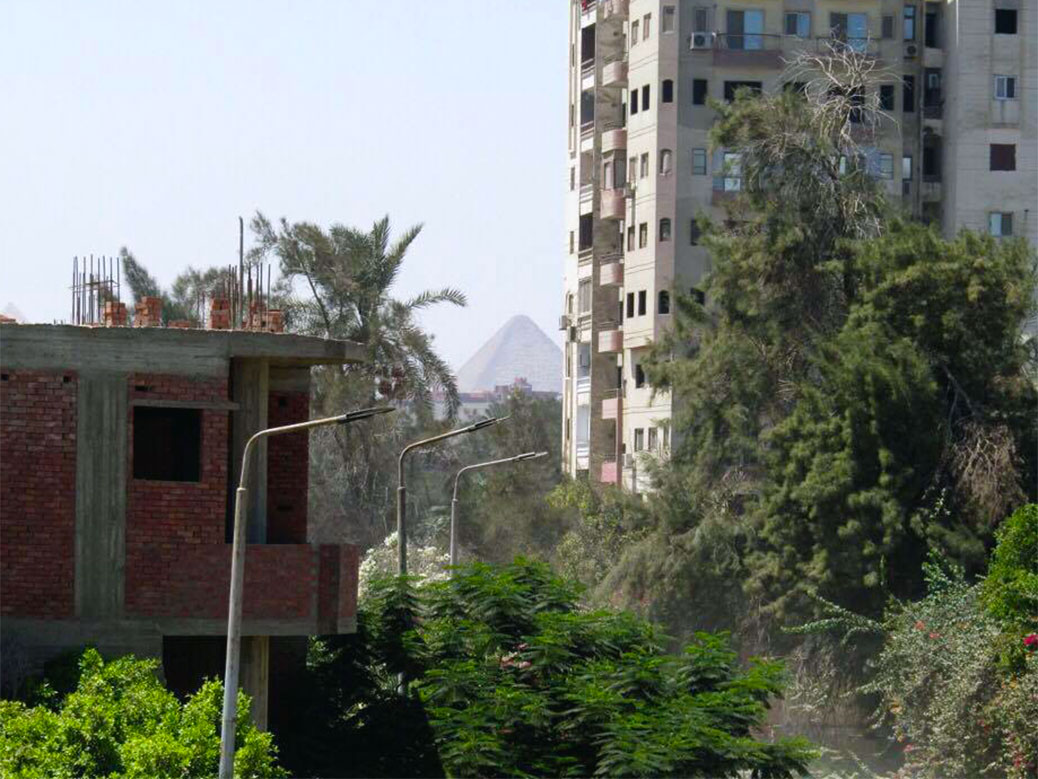 A peek of the pyramids in Giza from the international school.