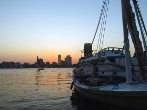 Our boat on the right with a view of the sunset across the Nile.