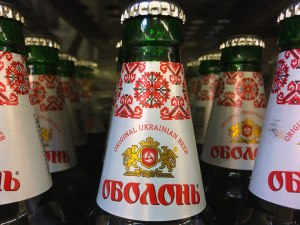 Obolon brand of beer. I liked the label of the traditional red embroidery. We chose a few beers to try. Slavic beers tend to be high alcohol and very low in price (50 cents).