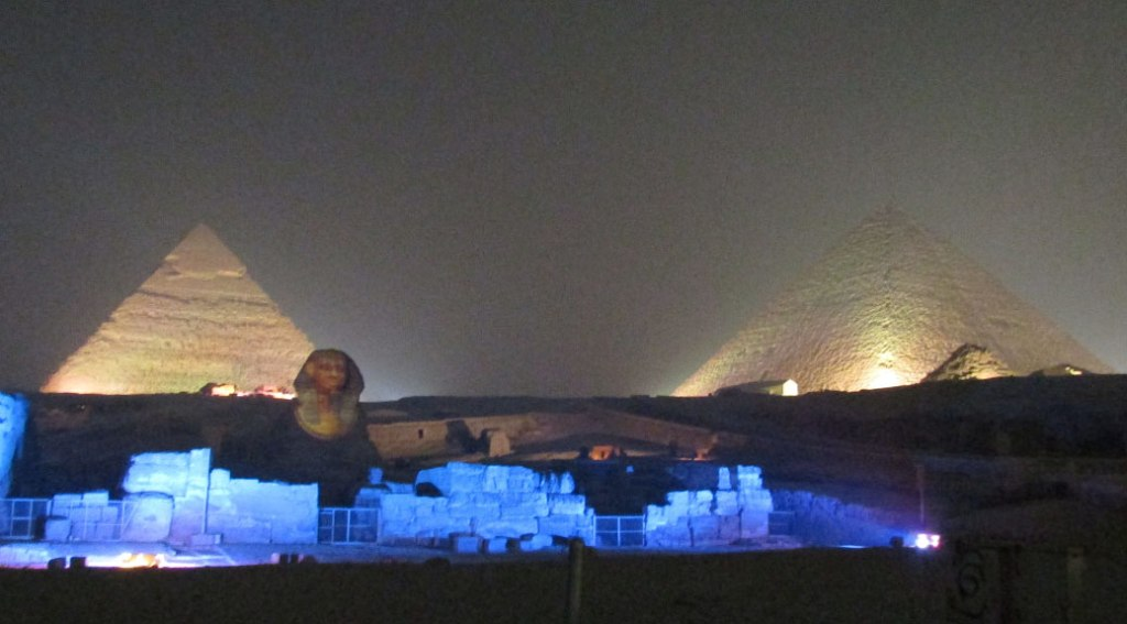 In this view, the Sphinx is superimposed with a mask, a nose and a false chin/beard.
