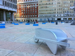 """Located across the street from City Hall is the Board Game Art Park, home to an installation of oversized board game pieces called """"Your Move."""""""