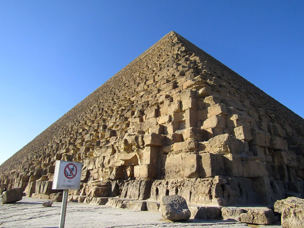 The Great Pyramid of King Khufu. From a distance, the pyramids seem smooth, but up close you can see the jagged exposed limestone of the pyramid's core.