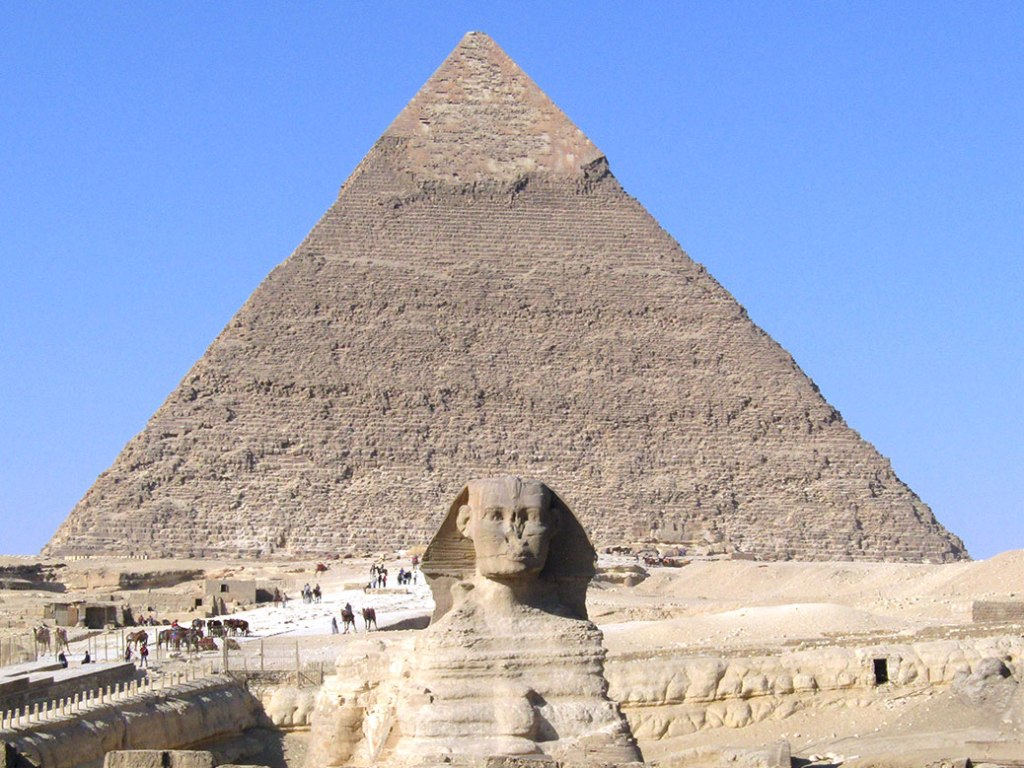 The Great Sphinx and Khafre's Pyramid at the Giza Pyramid Complex.