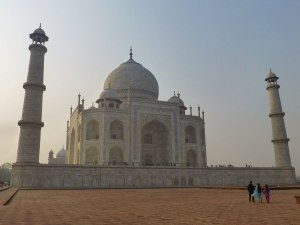 Side view of Taj Mahal from the front of the guesthouse.