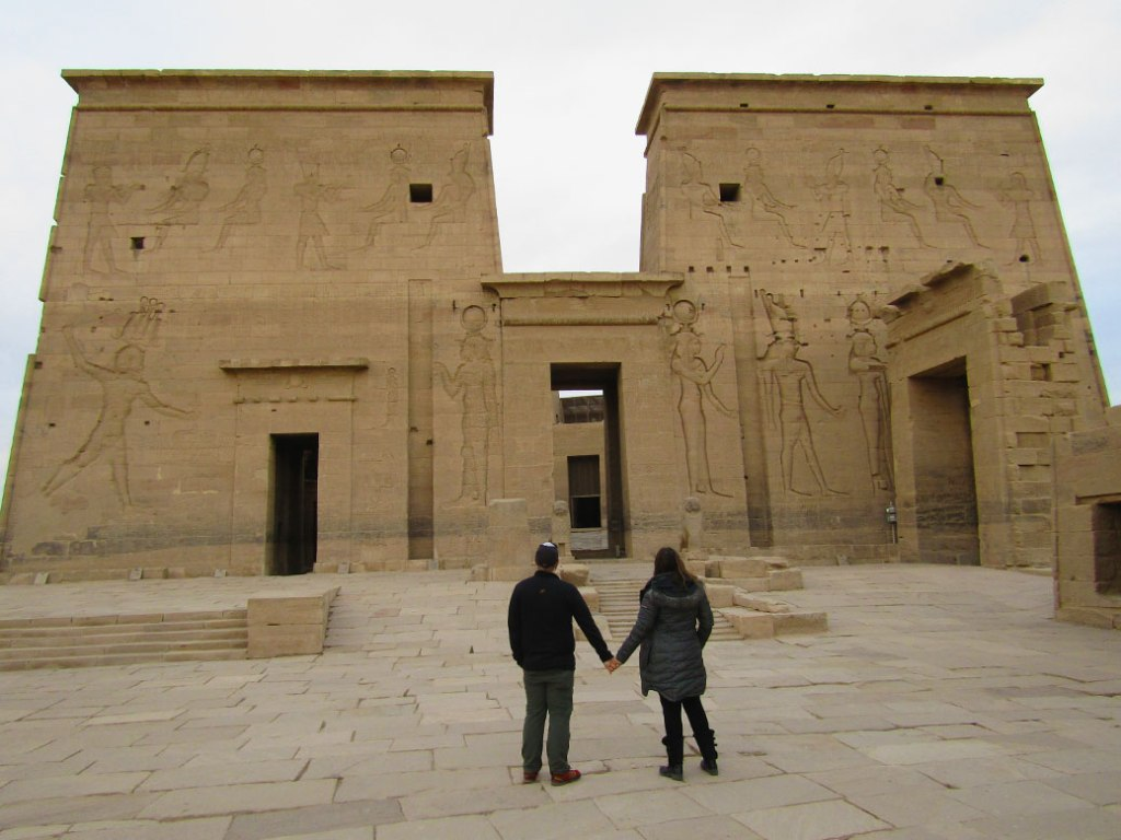 Together again in front of the First Pylon of the Temples of Philae in Aswan.