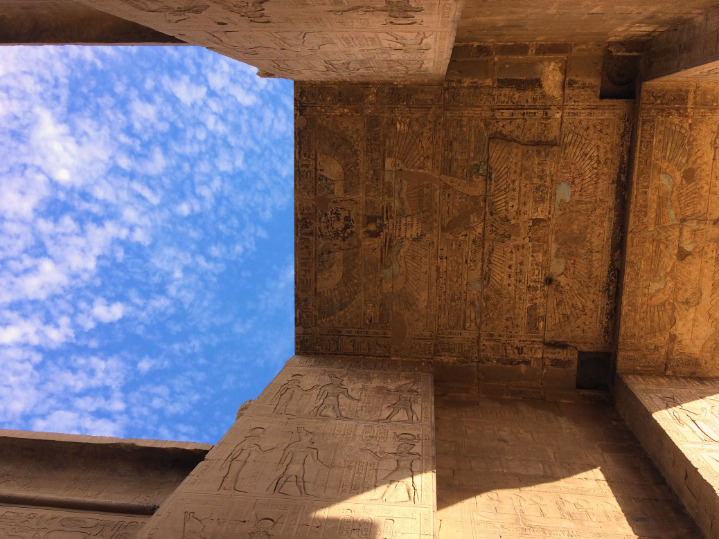 For centuries, the Temple of Edfu was buried under sand and silt from the Nile River. As a result, it's one of the best preserved temples in Upper Egypt. Carvings and original coloring can still be seen throughout the complex.