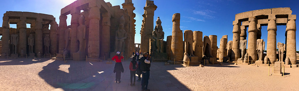 A panoramic view of Luxor Temple.
