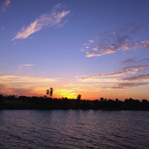 Sunset beyond the Nile River.