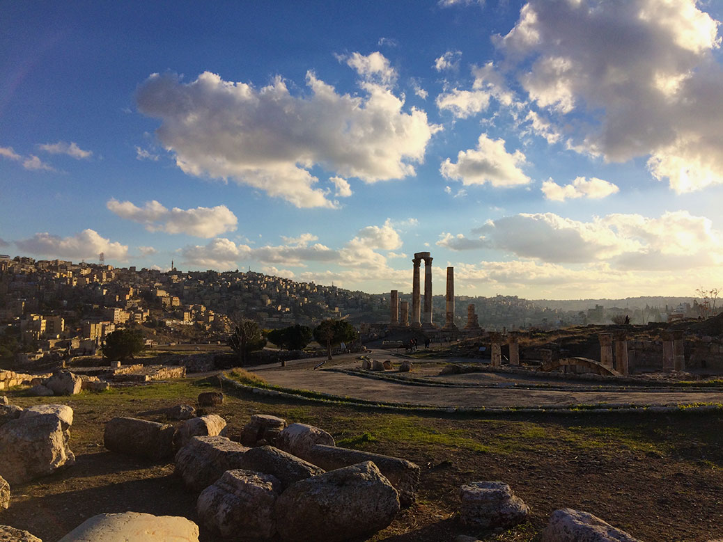 Amman's Temple of Hercules at sunset.