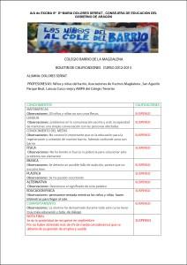Boletín de Calificaciones de Curso 2012-2013.  Alumna: Dolores Serrat