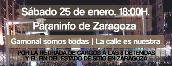 La Calle es Nuestra. Manifestación 25Ene Paraninfo. #SitiosDeZaragoza