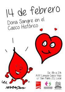 Jornada de donación de sangre, 14feb 18h-21h, c/San Pablo 23, Local