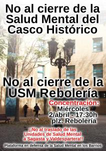 Concentración contra el cierre de la USM Rebolería. Miércoles 2Abril 17:30h Plaza Rebolería