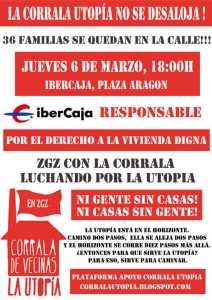 Concentración. Jueves 6 de marzo, 18:00h, sede central de IberCaja