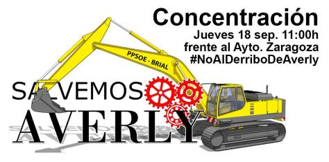 #noalderribodeaverly. Concentración, 18Sep, 11:00h frente Ayto. de Zaragoza
