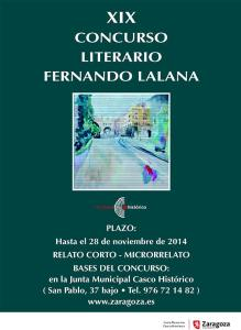 JUNTA MUNICIPAL CASCO HISTÓRICO,  XIX CONCURSO LITERARIO FERNANDO LALANA, Noviembre 2014