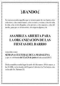 Organización de la XXVIII SEMANA CULTURAL DE LA MADALENA