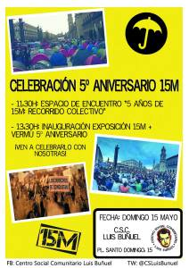 5to aniversario del 15M en el Centro Social Comunitario Luis Buñuel.