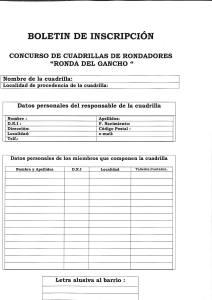 Ficha de inscripción Ronda del Gancho 2016