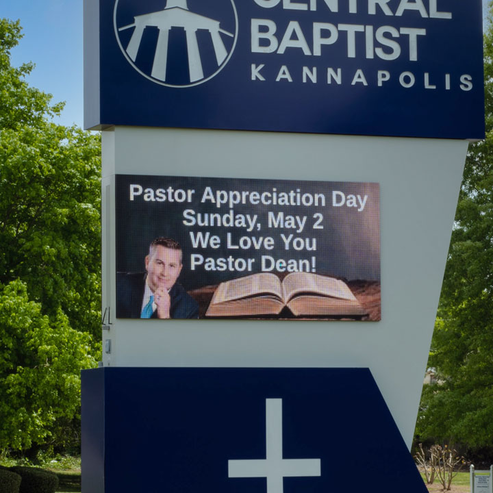 Monument Sign at Central Baptist with LED Message Board