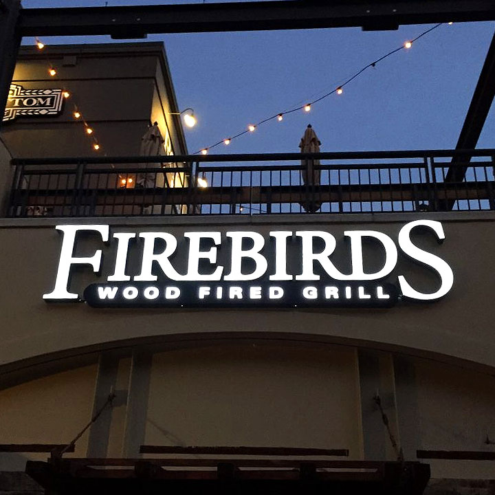 Firebirds wood fired grill channel letter sign.