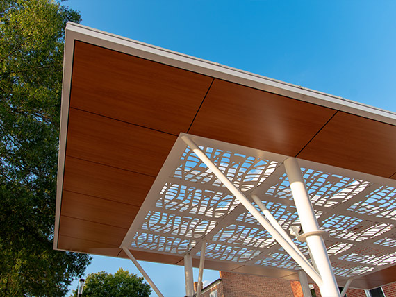 Architectural details of a shelter canopy